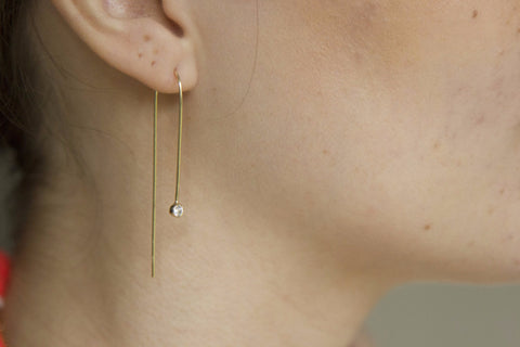 Brunello Gold on Sterling Silver Thread Through Earrings with Small Clear Crystal