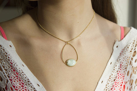 Hayek Short Gold Necklace with Blue Aragonite in Oval Setting