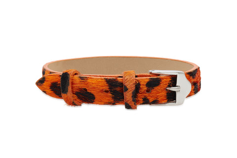 Juniper Orange Animal Skin Leather Wrap Bracelet with Steel Buckle