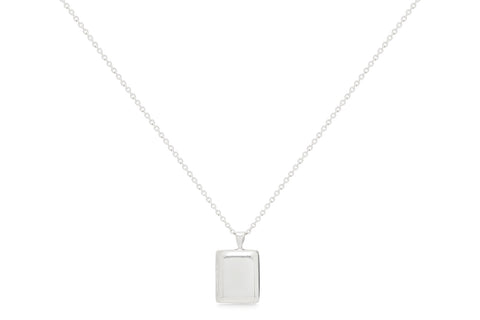 Justice Long Silver Locket Necklace