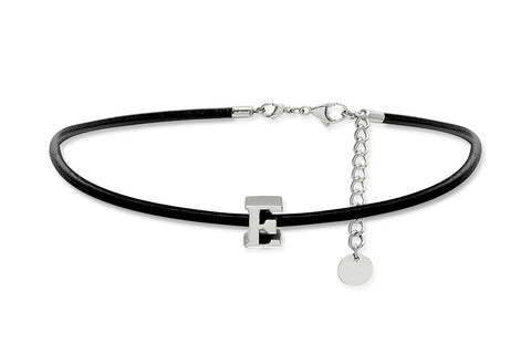 Leather Choker Necklace with Stainless Steel Letter