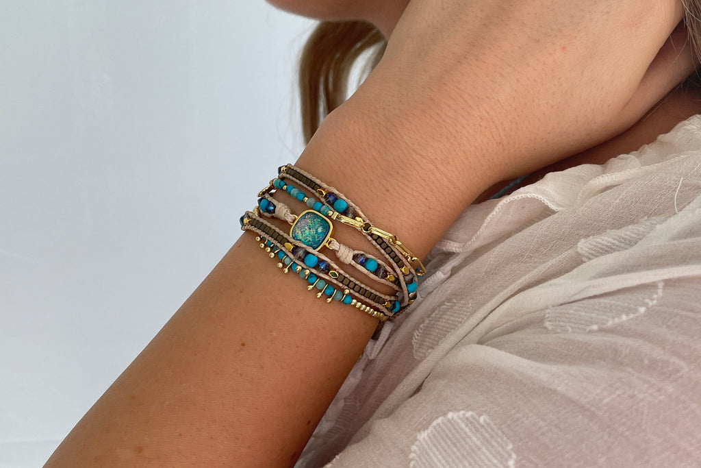 America Turquoise Gemstone Leather 3 Wrap Bracelet - Boho Betty