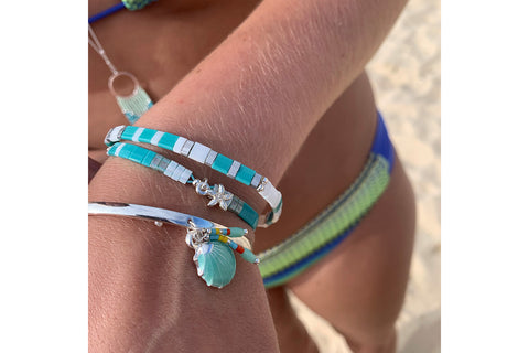 Yuzu Mint Aqua Tila Bead Starfish Friendship Bracelet
