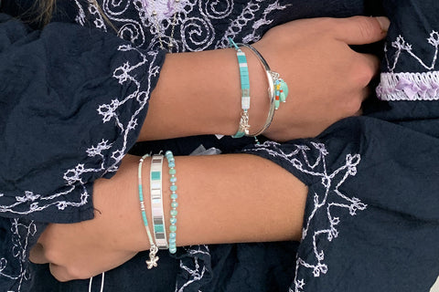 Tamarind Mint Green Starfish Charm Stretch Bracelet