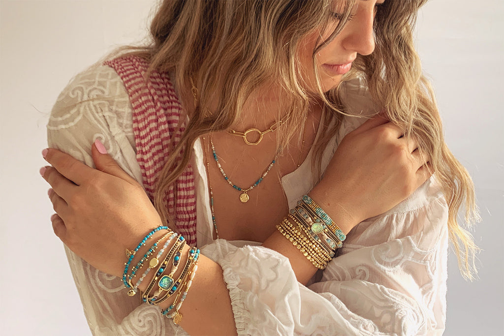 Kribi Aqua & Gold Pebble Bracelet - Boho Betty