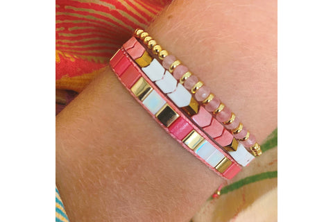 Rincon Coral 3 Layered Bracelet Stack