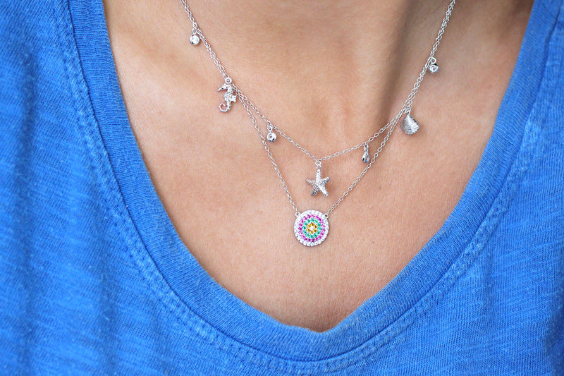 Iced Tea Sterling Silver CZ Disc Necklace