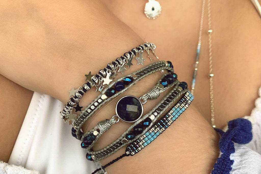 Songman 3 Row Blue Beaded Bracelet - Boho Betty