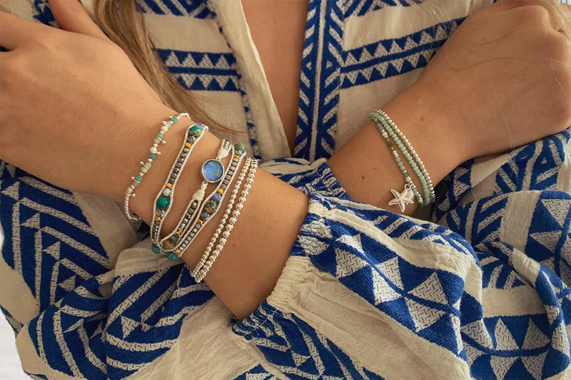 Lyon 3 Silver & Mint Layered Bracelet Stack - Boho Betty