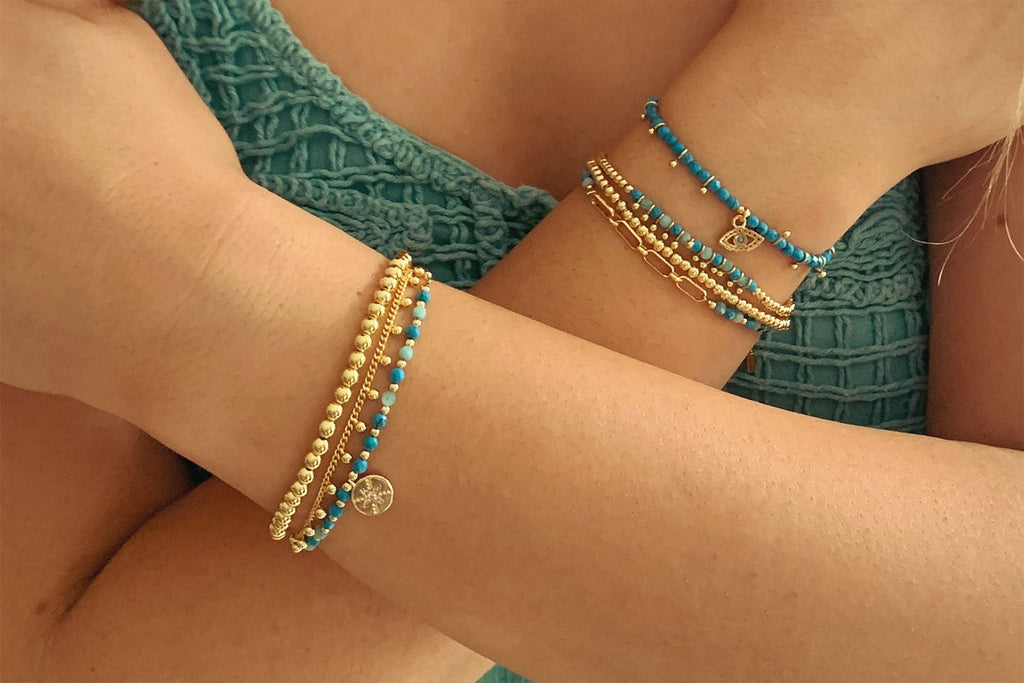 Caracus Blue & Gold 2 Layered Bracelet Stack - Boho Betty