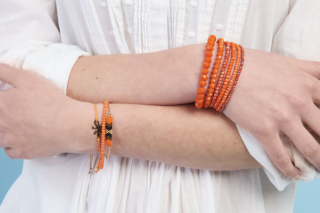 Moonwalk Orange Miyuki Bead Bracelet - Boho Betty