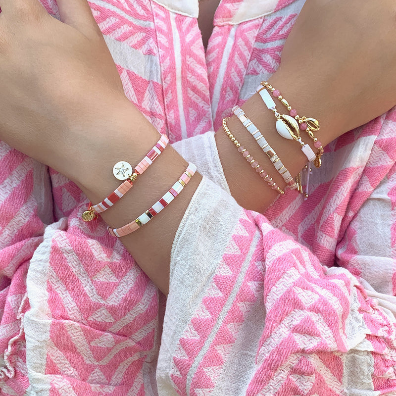 Wolfberry White Shell & Tila Bead Friendship Bracelet - Boho Betty