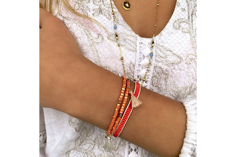 Jive Coral Beaded Friendship Bracelet