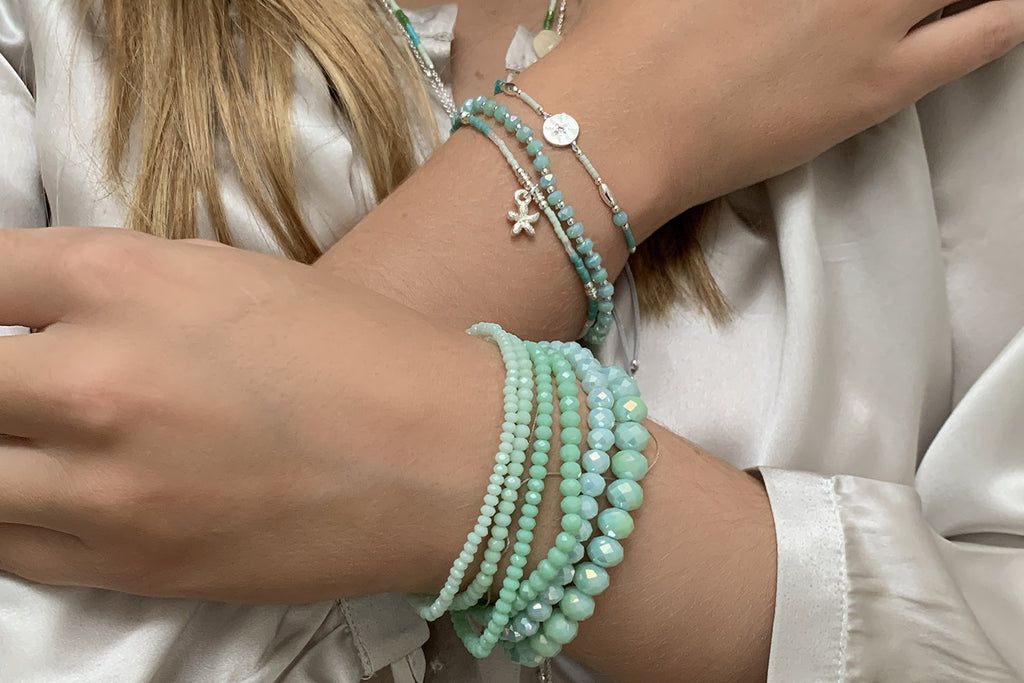 Bambina 6 Layered Mint Green Bracelet Stack - Boho Betty
