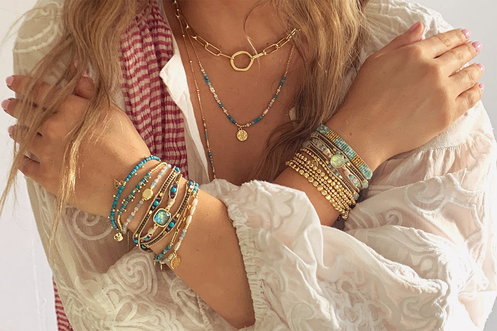 Amrum Aqua & Gold Charm Bracelet - Boho Betty