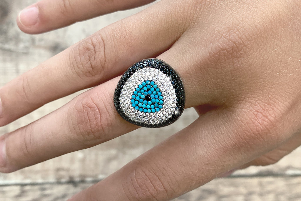 Cabello Sterling Silver Blue CZ Beaded Ring