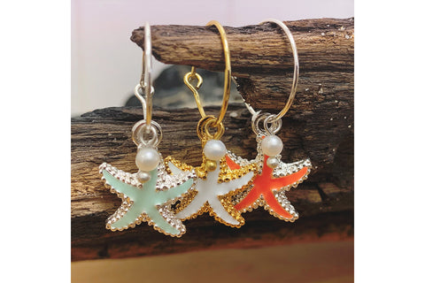 Clementine Coral Starfish Charm Earrings