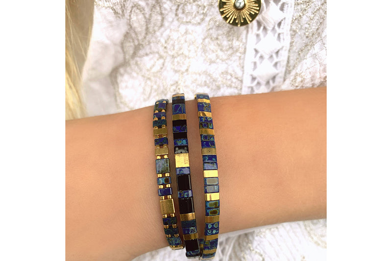 Confidence 3 Layered Navy Bracelet Stack - Boho Betty