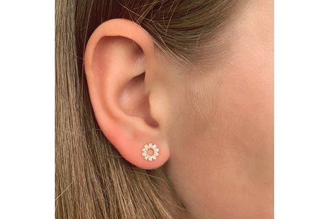 Maeve Gold Hollow CZ Stud Earrings