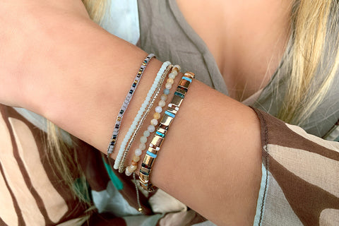 Navagio Blue 3 Layered Bracelet Stack