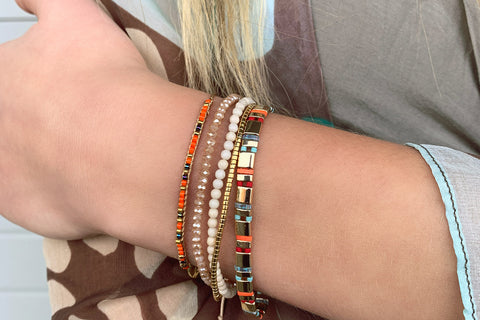 Navagio Orange 3 Layered Bracelet Stack