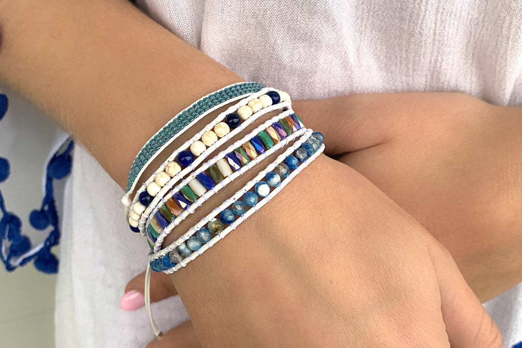 Nicosia Blue Leather 3 Wrap Bracelet