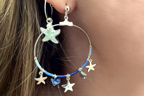 Clementine Mint Starfish Charm Earrings