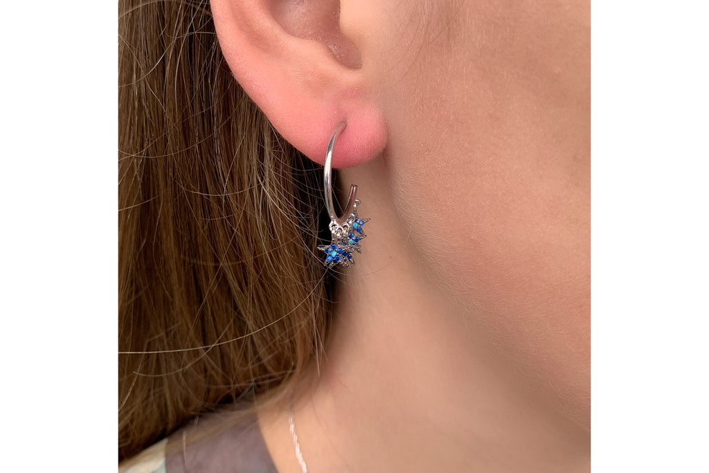 Stenberg CZ Silver Blue Multi Star Hoop Earrings - Boho Betty