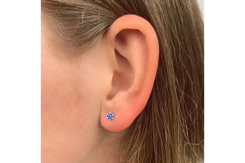 Woodley Blue Disc Stud Earrings