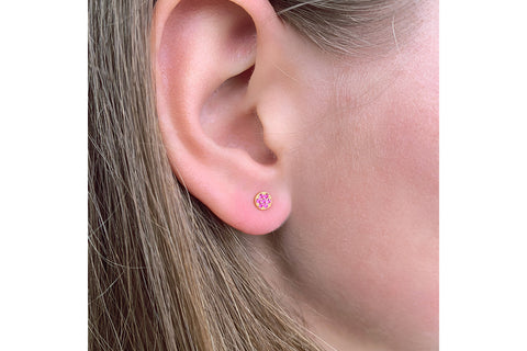 Woodley Pink Disc  Stud Earrings