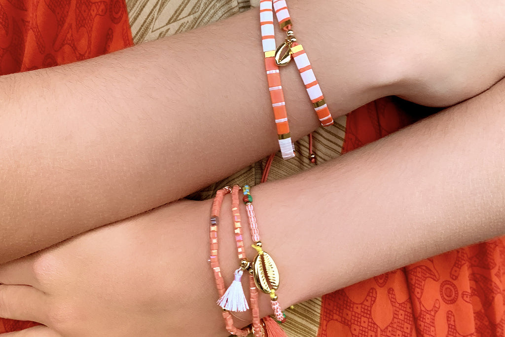 Ballenas Orange 2 Layered Bracelet Stack - Boho Betty
