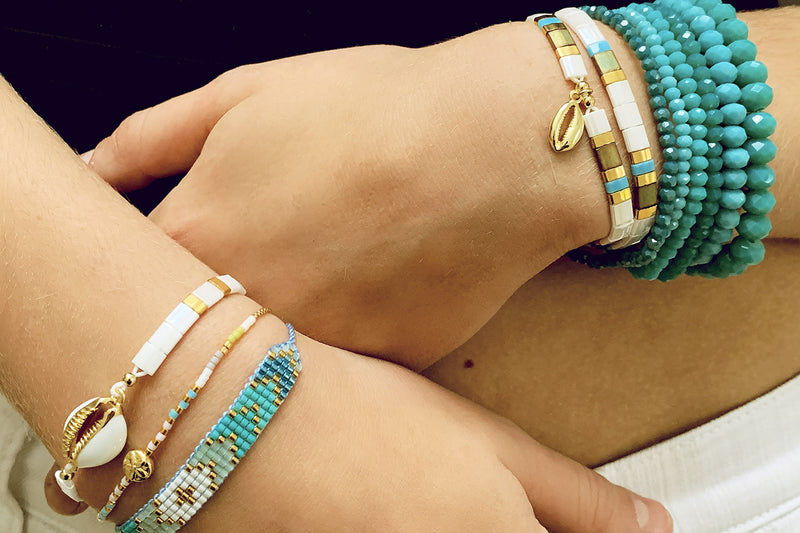 Ballenas Gold 2 Layered Bracelet Stack - Boho Betty
