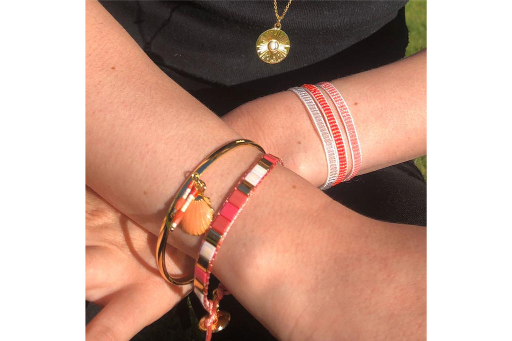 Galdho Peak Coral 2 Layer Bracelet Stack - Boho Betty