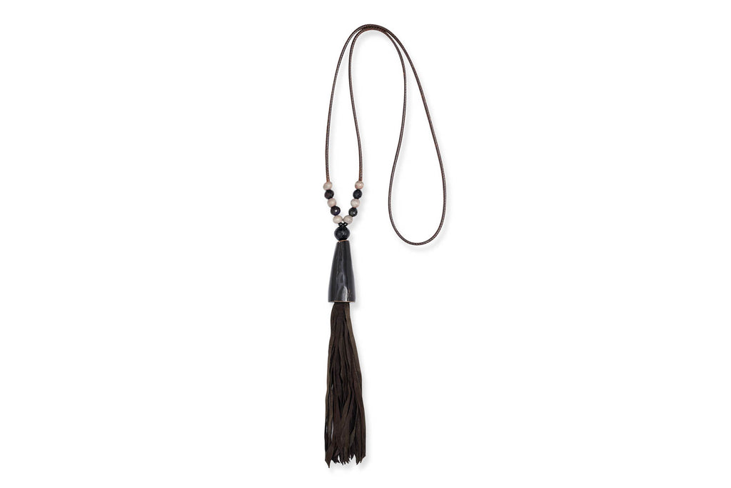 Lakshmi Long Leather Tassel Necklace