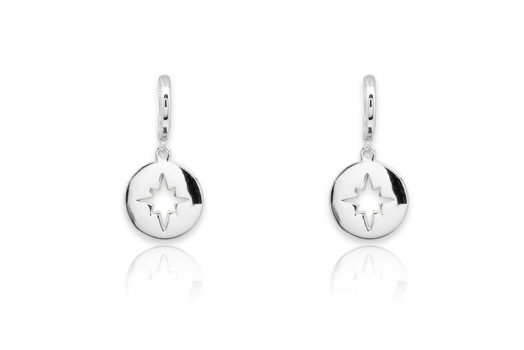 Lamba Silver Compass Star Earrings