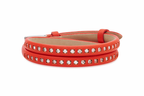 Larch Red Leather 2 Wrap Buckle Bracelet with Crystals