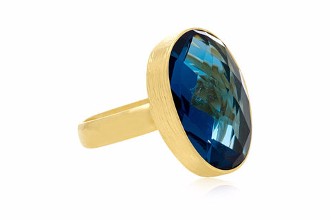 Lawrence Gold Adjustable Ring with Blue Iolite