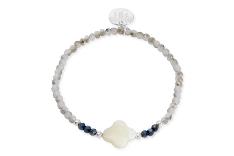 Lohri Navy & Grey Crystal Stretch Bracelet with White Stone Clover Charm