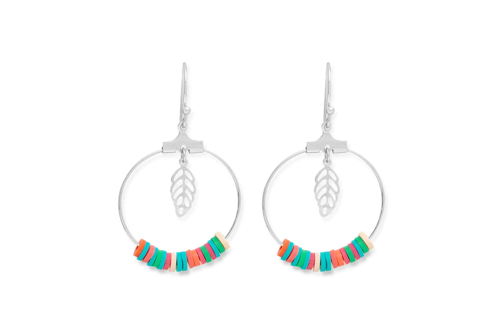Moana Silver Beaded Hoop Earrings
