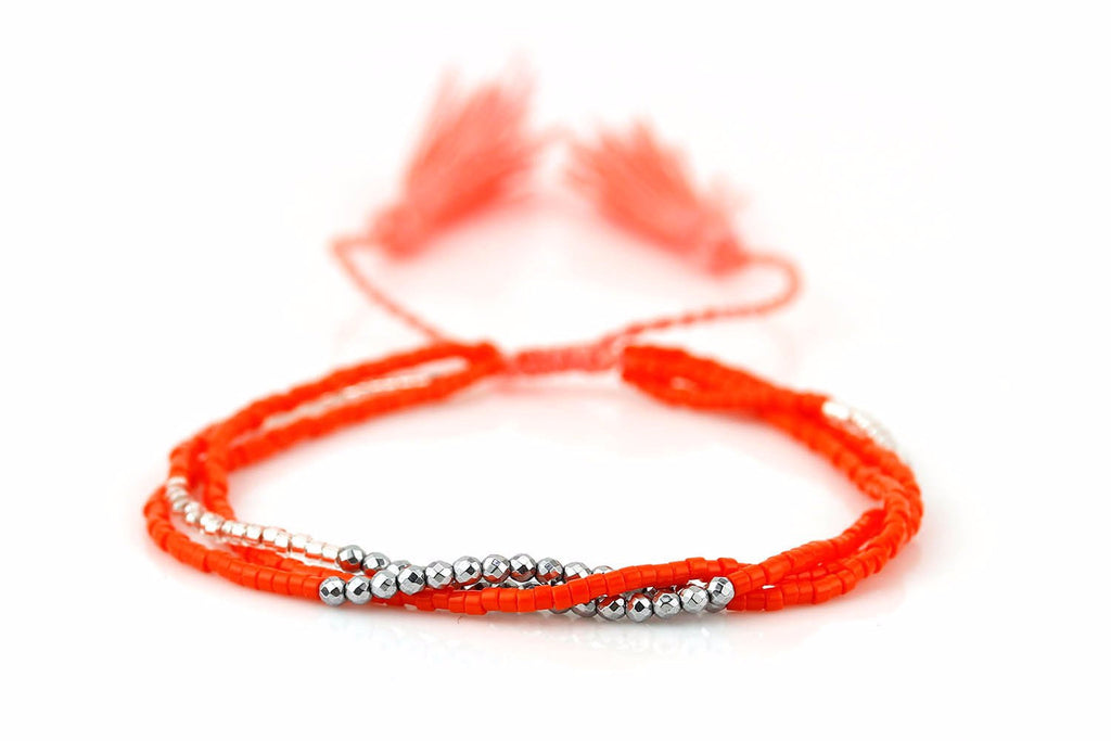 Macomba Orange Seed Bead & Silver Hematite Friendship Bracelet with Tassels
