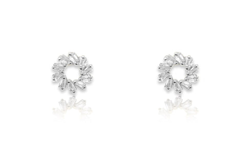 Maeve Silver Hollow CZ Stud Earrings