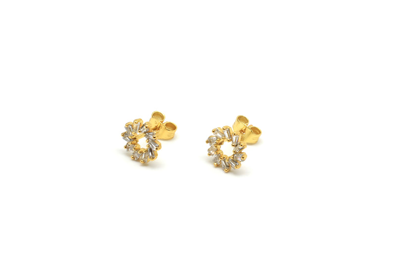 Maeve Gold Hollow CZ Stud Earrings - Boho Betty