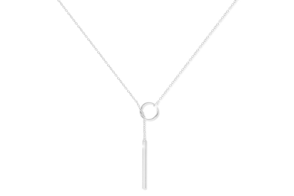 Malbec Sterling Silver Pull Through Necklace with Bar Pendant