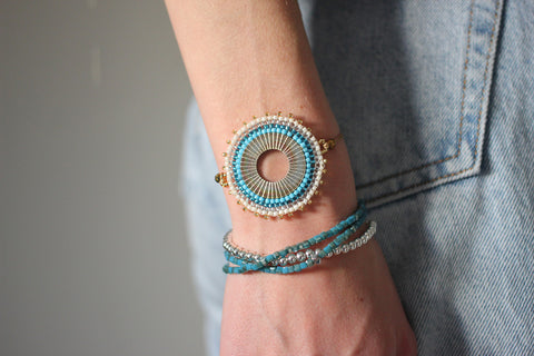 Mallow Blue 3 Wrap Stretch Bracelet