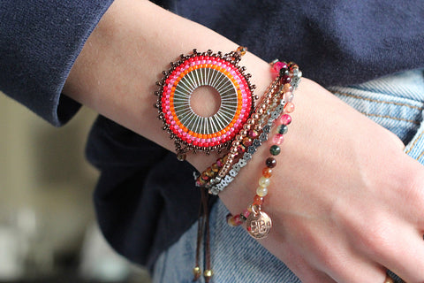 Mapele Beaded Coral Disc Bracelet