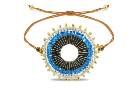 Mapele Beaded Blue Disc Bracelet
