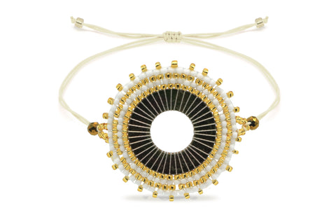 Mapele Beaded Gold Disc Bracelet