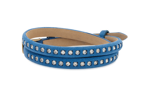 Maple Blue Leather 2 Wrap Buckle Bracelet with Crystals