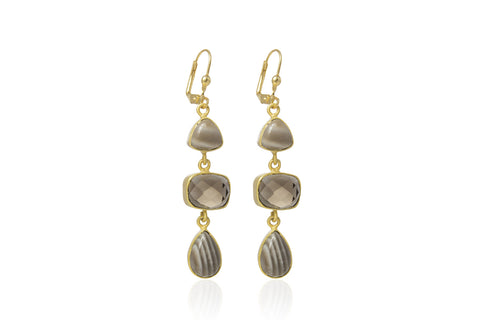 Mara Gold Three Drop Earrings with Striped Flint and Smokey Flint