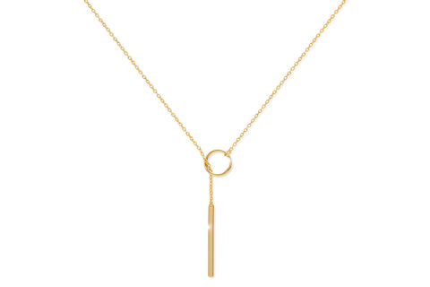 Marsanne Gold on Sterling Silver Pull Through Necklace with Bar Pendant